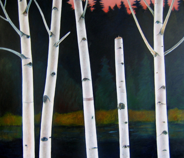"Joyce Koskenmaki, ""Birches and Sunset"""