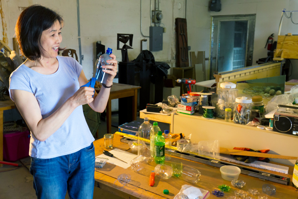 Artist Mayumi Amada in her studio. Photo courtesy Bakken Museum, Minneapolis, Minn.