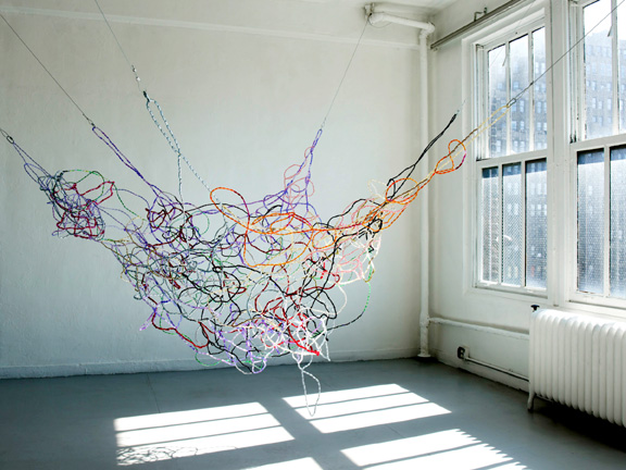 Natsu, Path of Particles, 2010, Plastic beads and brass wire, 72 x 108 x 108 inches. Photo: Teru Onishi
