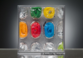ANNA-RIITTA HAAVISTO Pills of Joy I  (2006), Mixed technique / Pill containers, cotton, Size: H 1.96 in x W 1.96 in x D 0.78 in  (5 x 5 x 2 cm). Photo: Matti Huuhka