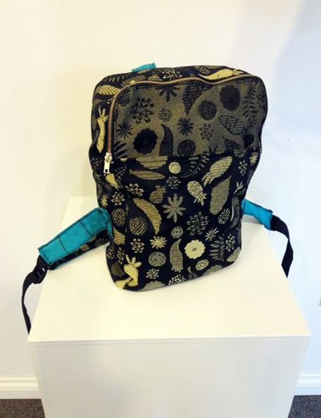Sarah Jalkanen: Original Bag Design with Jacquard Fabric, designed fabric and hand-woven strap