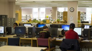 Students studying in Finlandia's Maki Library