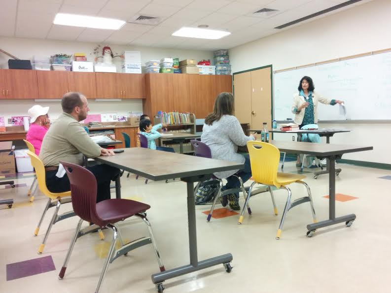 Rekha Ambardar teaching class at Portage Lake District Library