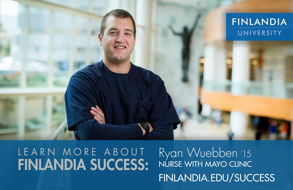 Ryan Wuebben Finlandia University graduate who now works at Mayo-Clinic