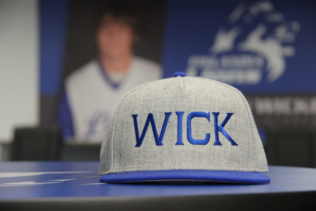 Many of Wick's former teammates on the FinnU baseball team got together earlier this summer to play in a tournament in his memory. This is the team hat they wore.
