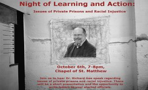 Poster for a night of learning and action