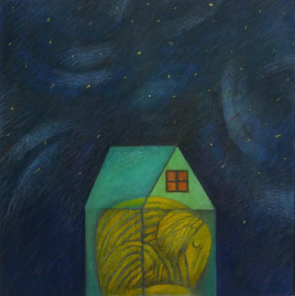 """Joyce Koskenmaki Elegy for my Dog, Crayon on paper 28"""" x 28"""""""