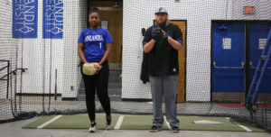 Denia Bent and Joey Krug pitching for Finlandia Fridays