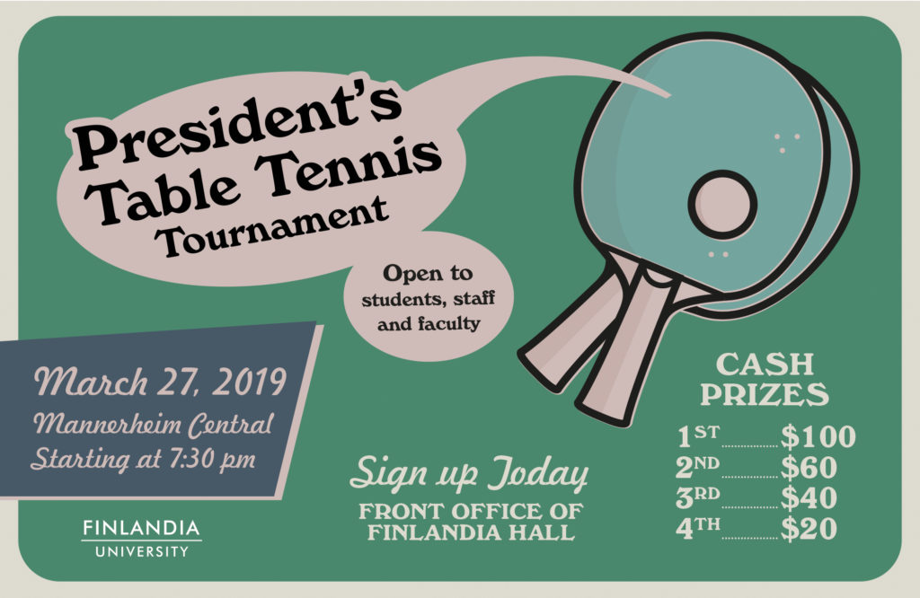 President S Table Tennis Tournament To Be Held March 27 Finlandia