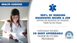 Health Sciences - 100% of nursing graduates secure a job within six months of passing their NCLEX exam. Best Degree Programs nationally ranked as 30 most affordable Online RN-to-BSN Program in 2017.